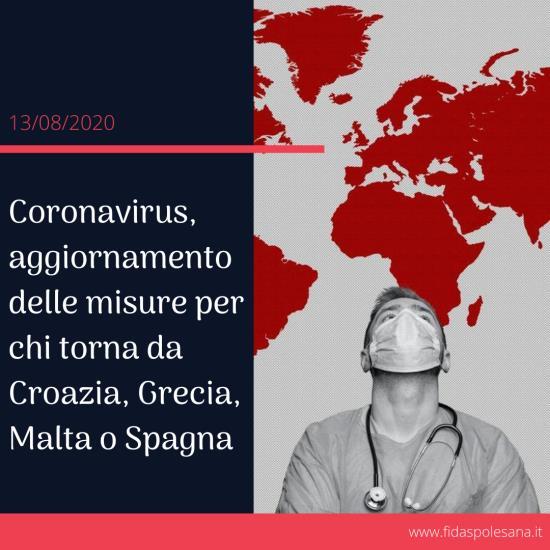 Coronavirus,aggiornamento delle misure per chi torna da Croazia, Grecia, Malta o Spagna